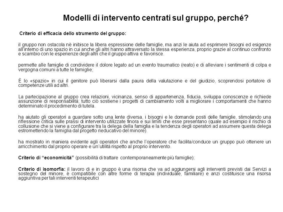Modelli di intervento centrati sul gruppo, perché