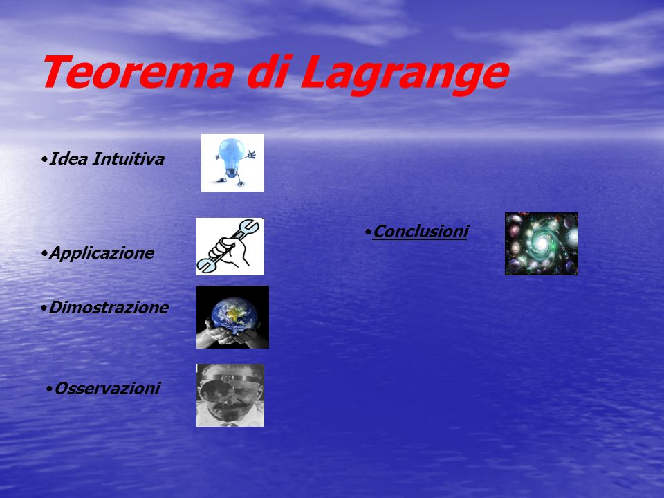 Teorema di Lagrange Idea Intuitiva Conclusioni Applicazione