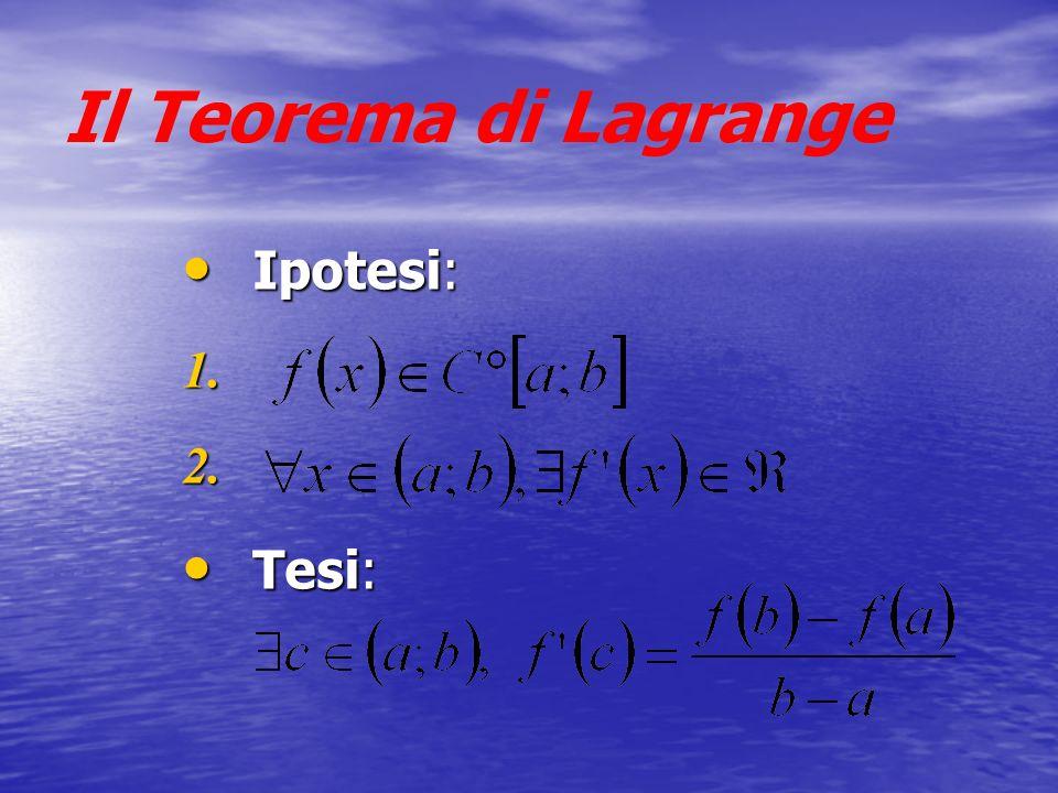 Il Teorema di Lagrange Ipotesi: Tesi: