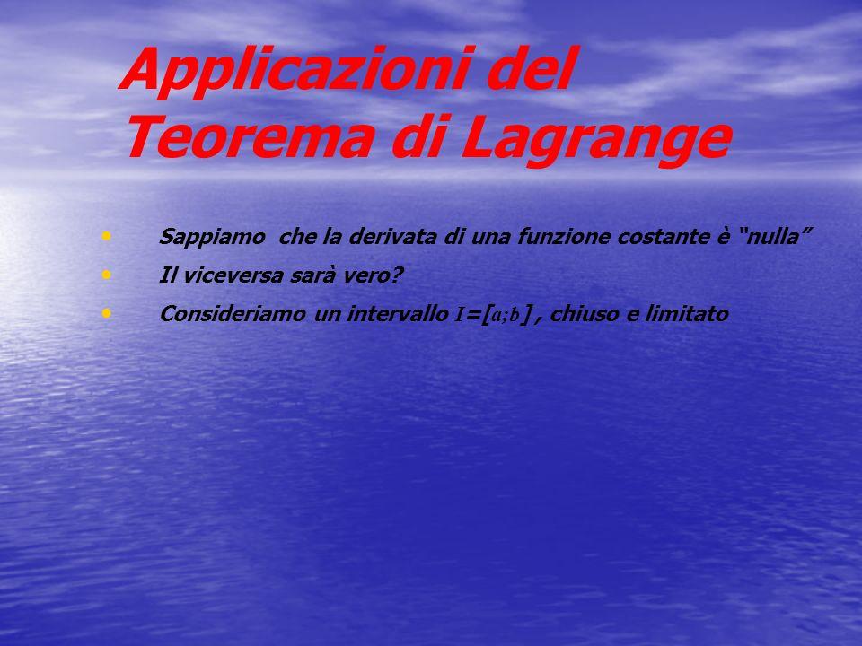 Applicazioni del Teorema di Lagrange
