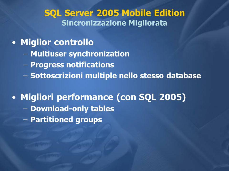 SQL Server 2005 Mobile Edition Sincronizzazione Migliorata