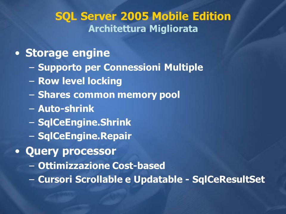 SQL Server 2005 Mobile Edition Architettura Migliorata