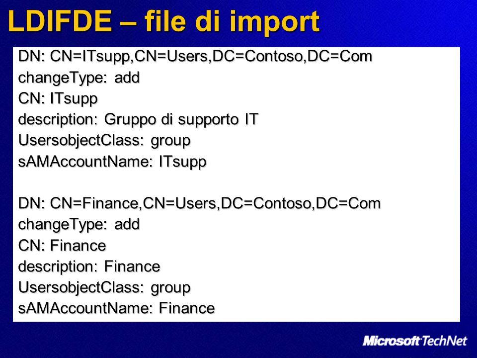 LDIFDE – file di import DN: CN=ITsupp,CN=Users,DC=Contoso,DC=Com