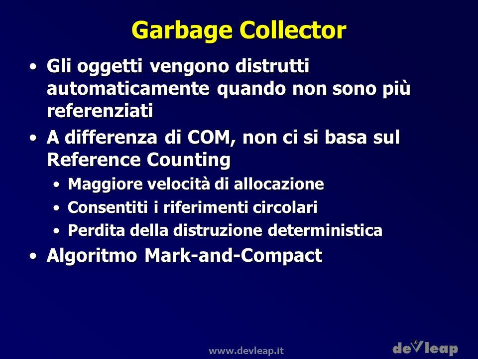 Garbage Collector Gli oggetti vengono distrutti automaticamente quando non sono più referenziati.