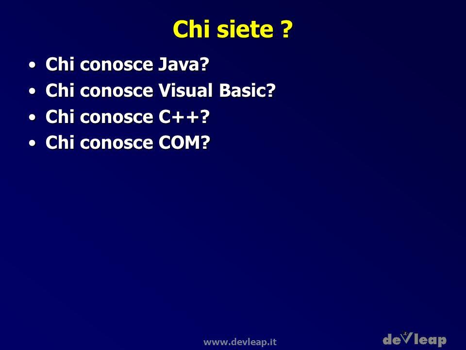 Chi siete Chi conosce Java Chi conosce Visual Basic