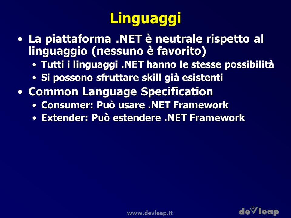 Linguaggi La piattaforma .NET è neutrale rispetto al linguaggio (nessuno è favorito) Tutti i linguaggi .NET hanno le stesse possibilità.