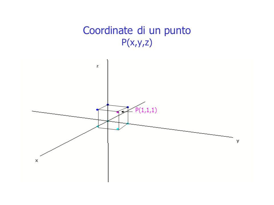 Coordinate di un punto P(x,y,z)