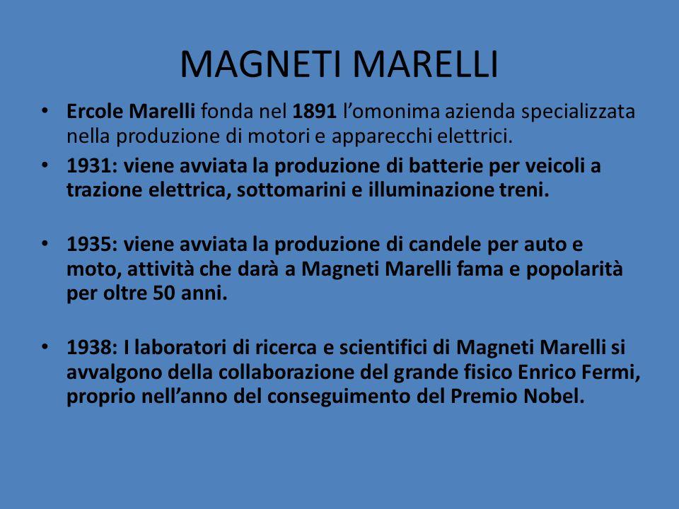 MAGNETI MARELLI Ercole Marelli fonda nel 1891 l'omonima azienda specializzata nella produzione di motori e apparecchi elettrici.
