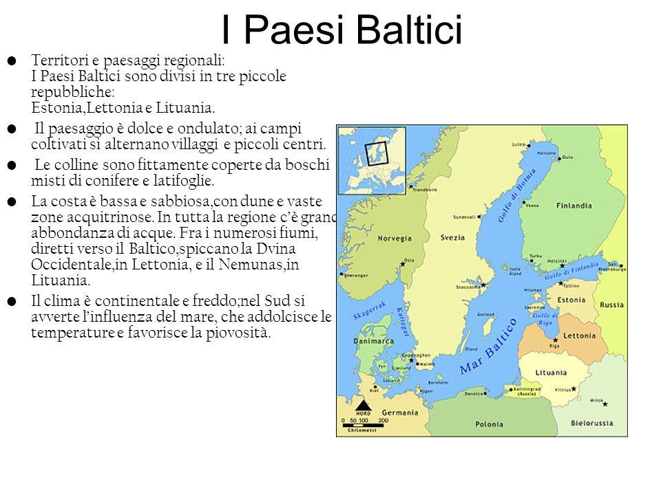I Paesi BalticiTerritori e paesaggi regionali: I Paesi Baltici sono divisi in tre piccole repubbliche: Estonia,Lettonia e Lituania.