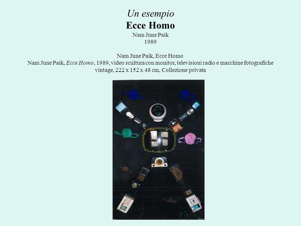 Un esempio Ecce Homo Nam June Paik 1989 Nam June Paik, Ecce Homo Nam June Paik, Ecce Homo, 1989, video scultura con monitor, televisioni radio e macchine fotografiche vintage, 222 x 152 x 48 cm, Collezione privata