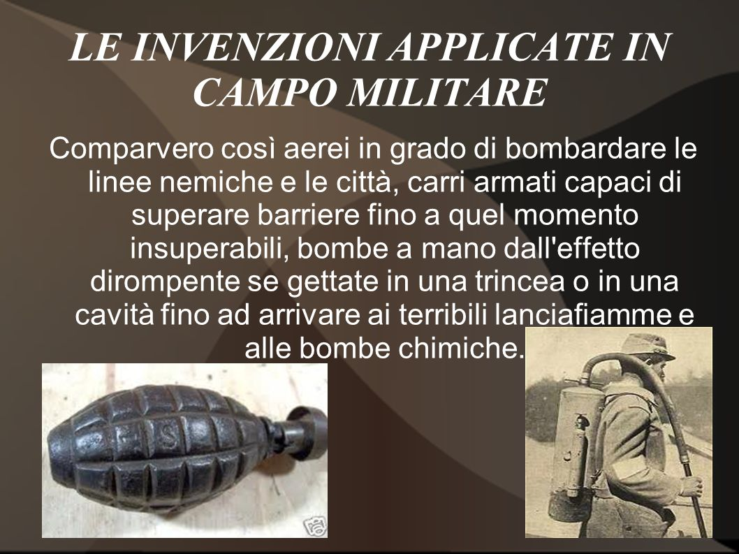 LE INVENZIONI APPLICATE IN CAMPO MILITARE
