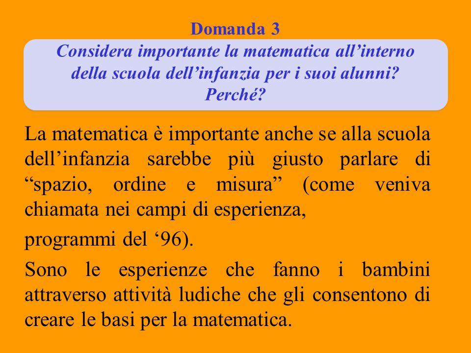 Domanda 3 Considera importante la matematica all'interno della scuola dell'infanzia per i suoi alunni Perché