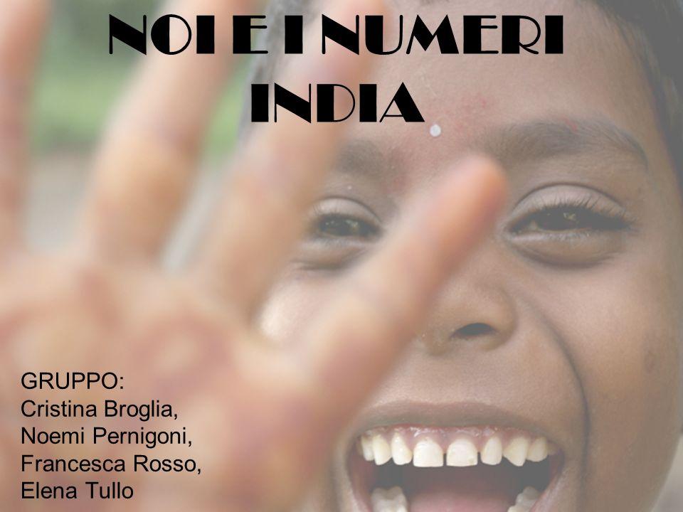 NOI E I NUMERI INDIA GRUPPO: Cristina Broglia, Noemi Pernigoni,