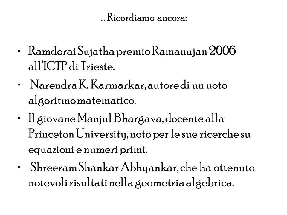 Ramdorai Sujatha premio Ramanujan 2006 all'ICTP di Trieste.
