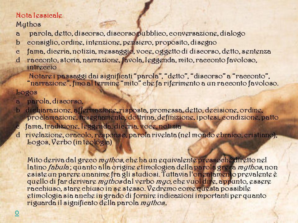 Nota lessicale Mythos. a parola, detto, discorso, discorso pubblico, conversazione, dialogo.