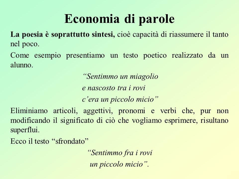 Economia di parole La poesia è soprattutto sintesi, cioè capacità di riassumere il tanto nel poco.