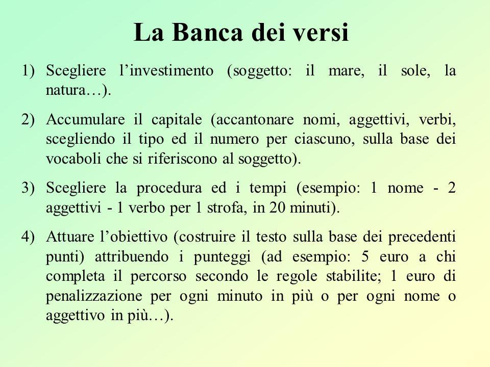 La Banca dei versi Scegliere l'investimento (soggetto: il mare, il sole, la natura…).