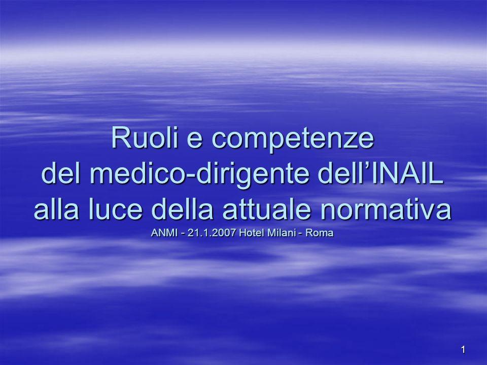 Ruoli e competenze del medico-dirigente dell'INAIL alla luce della attuale normativa ANMI - 21.1.2007 Hotel Milani - Roma