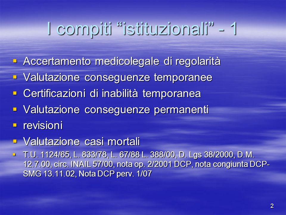 I compiti istituzionali - 1