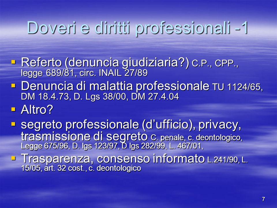 Doveri e diritti professionali -1