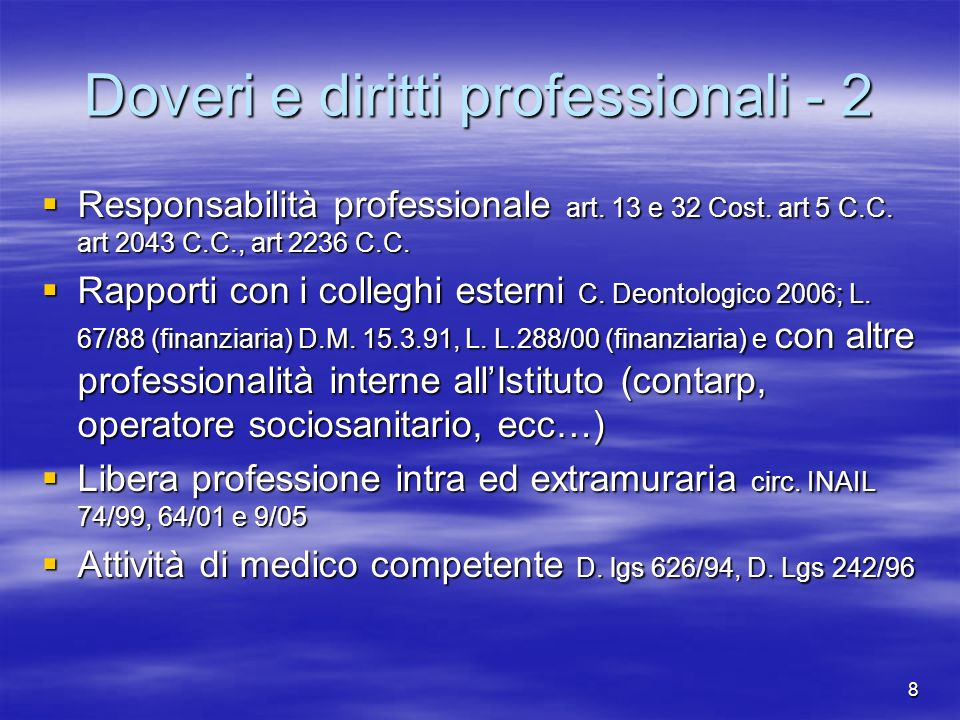 Doveri e diritti professionali - 2