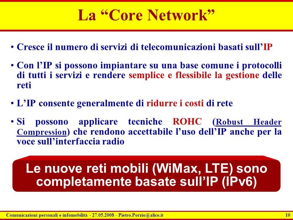 La Core Network Cresce il numero di servizi di telecomunicazioni basati sull'IP.