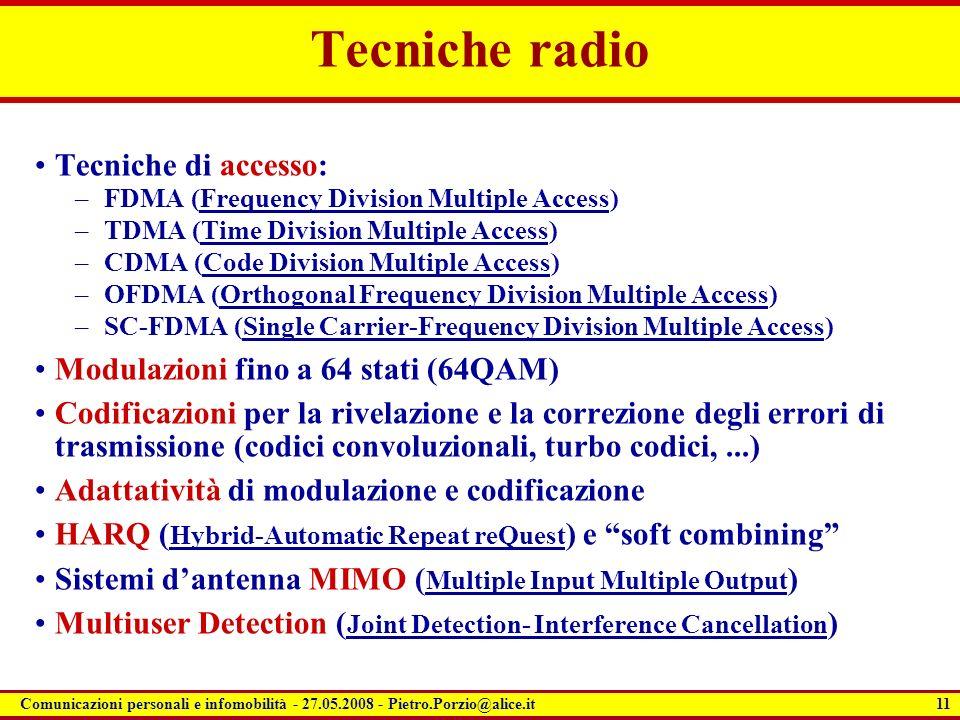 Tecniche radio Tecniche di accesso: