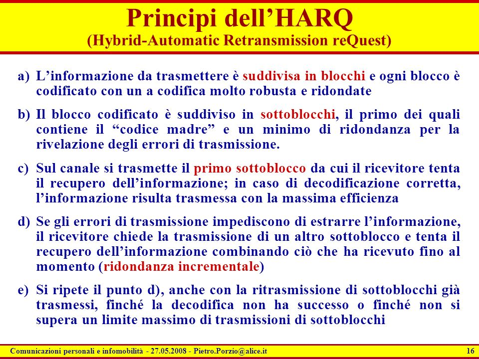 Principi dell'HARQ (Hybrid-Automatic Retransmission reQuest)