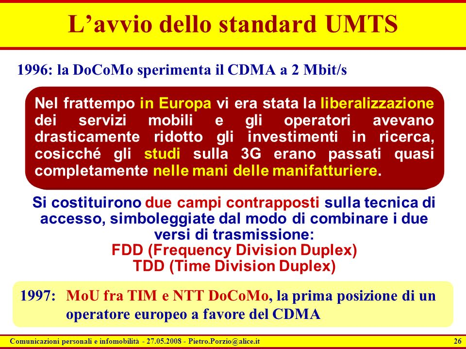L'avvio dello standard UMTS