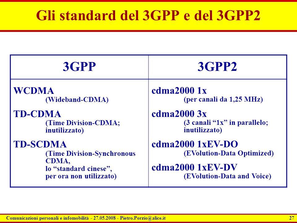 Gli standard del 3GPP e del 3GPP2