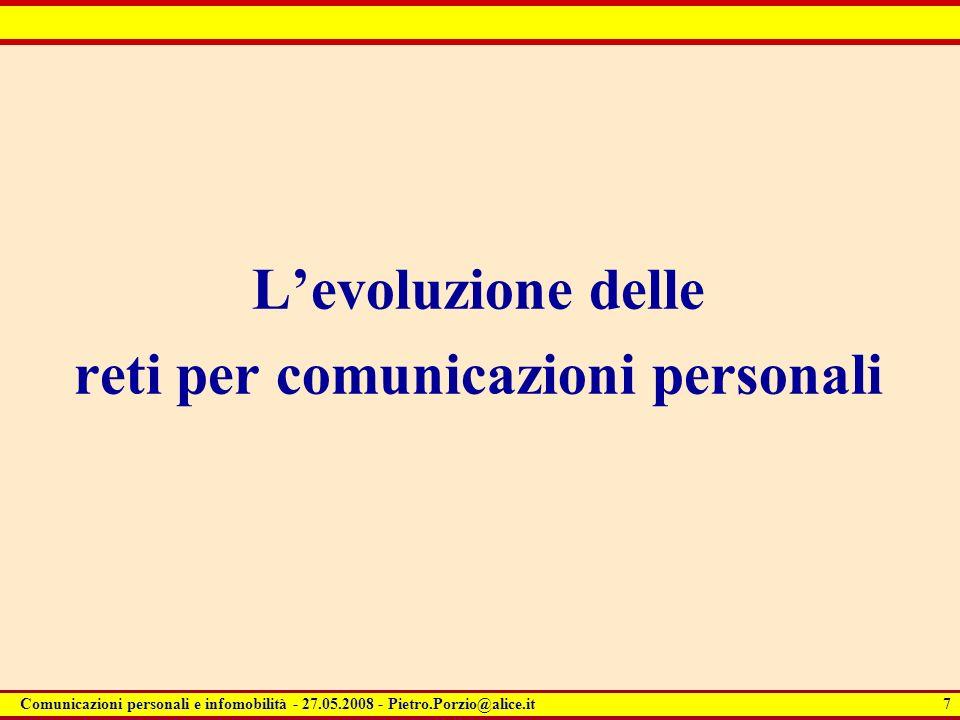 L'evoluzione delle reti per comunicazioni personali