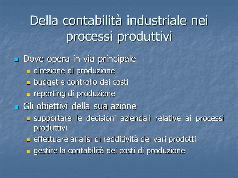 Della contabilità industriale nei processi produttivi