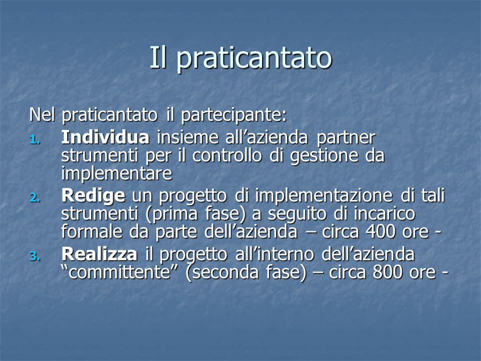 Il praticantato Nel praticantato il partecipante: