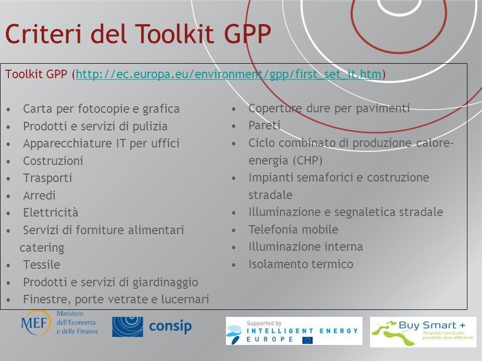 Criteri del Toolkit GPP