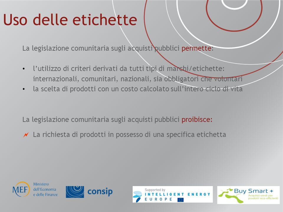 Uso delle etichette La legislazione comunitaria sugli acquisti pubblici permette: