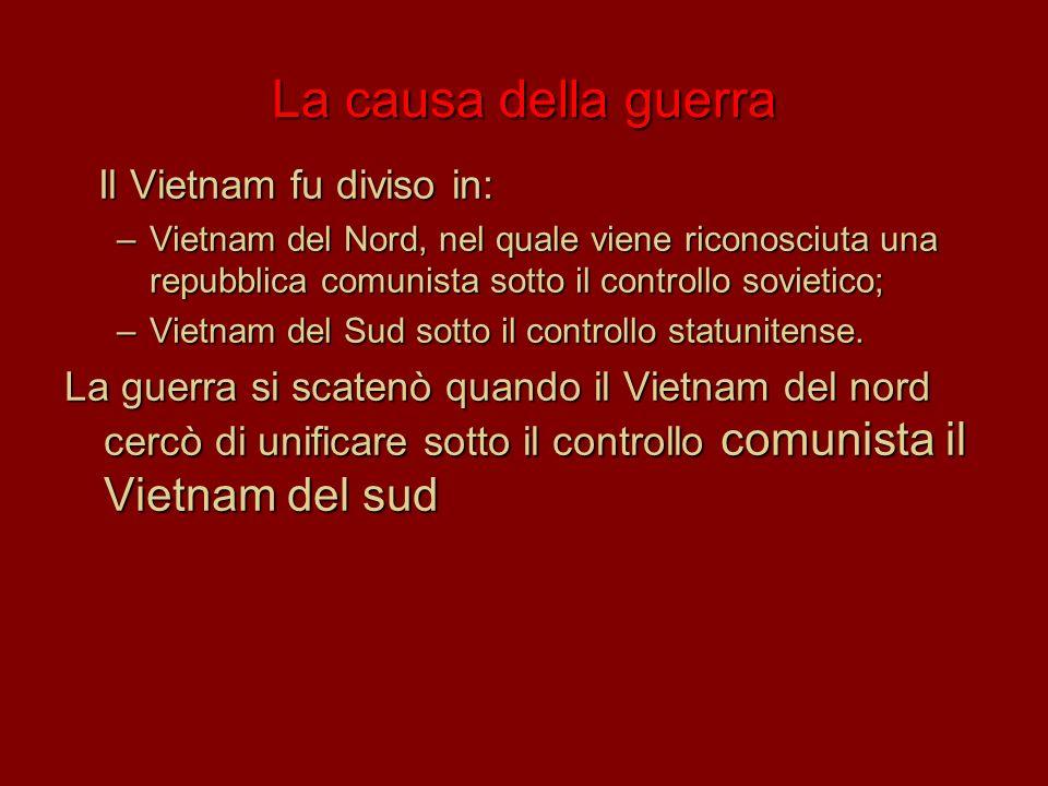 La causa della guerra Il Vietnam fu diviso in: