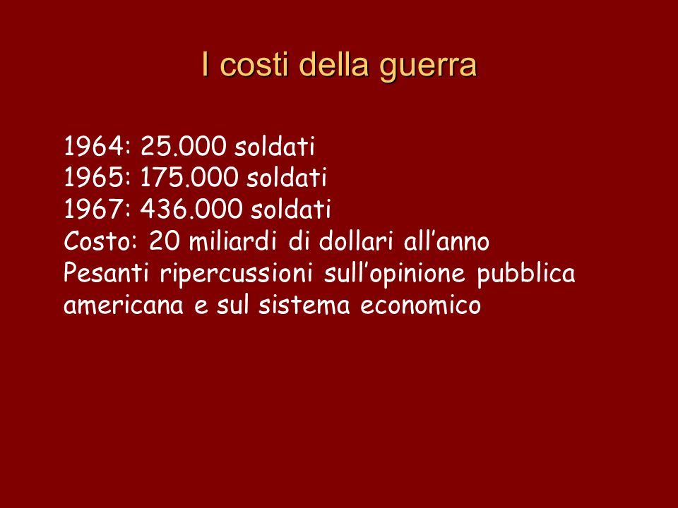 I costi della guerra 1964: 25.000 soldati 1965: 175.000 soldati