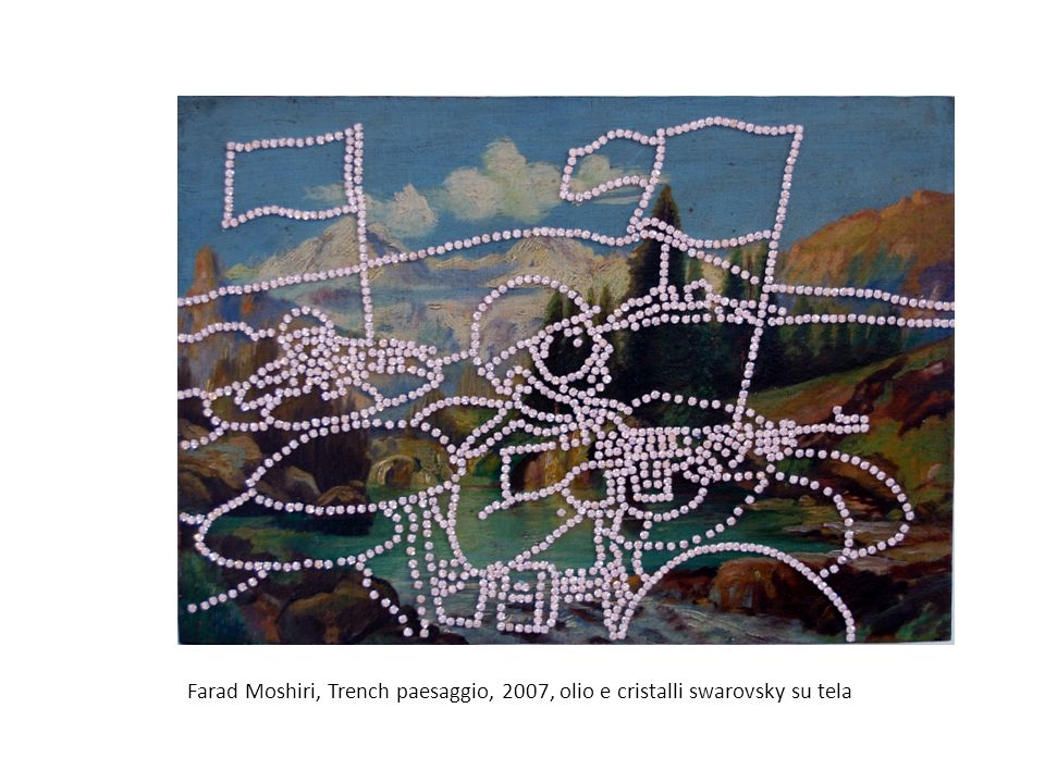 Farad Moshiri, Trench paesaggio, 2007, olio e cristalli swarovsky su tela
