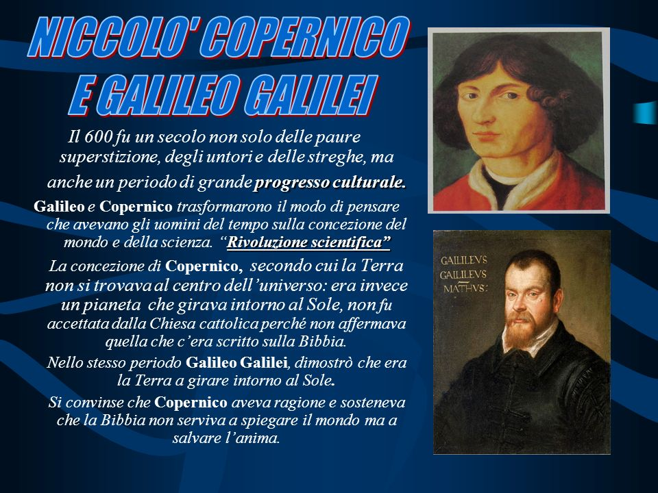 NICCOLO COPERNICO E GALILEO GALILEI