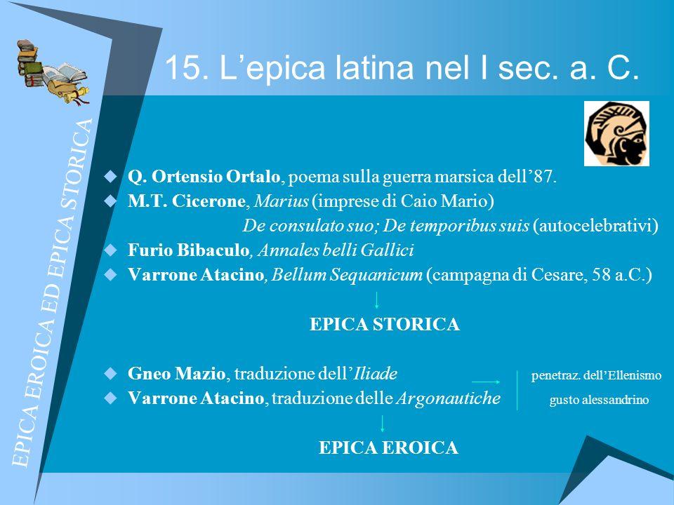 15. L'epica latina nel I sec. a. C.