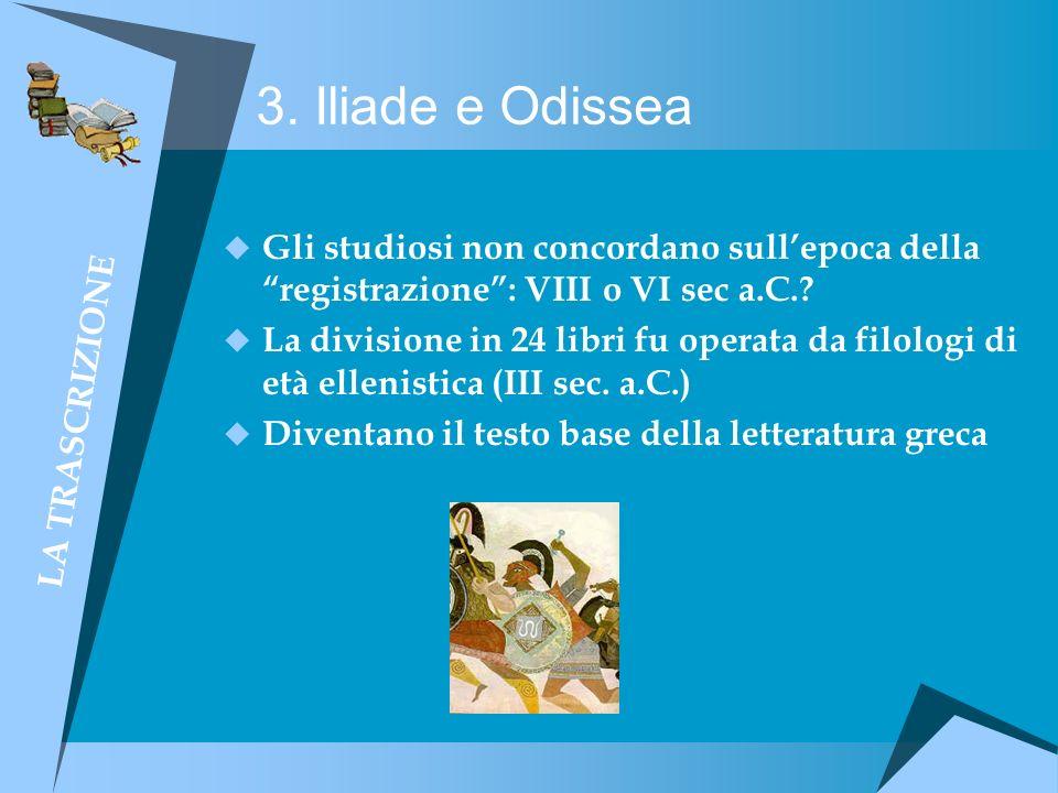 3. Iliade e Odissea LA TRASCRIZIONE. Gli studiosi non concordano sull'epoca della registrazione : VIII o VI sec a.C.
