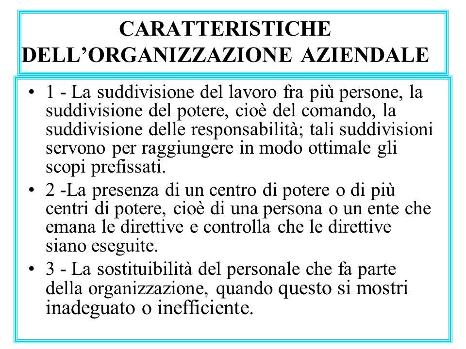 CARATTERISTICHE DELL'ORGANIZZAZIONE AZIENDALE