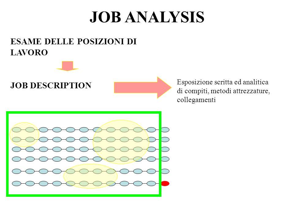 JOB ANALYSIS ESAME DELLE POSIZIONI DI LAVORO JOB DESCRIPTION
