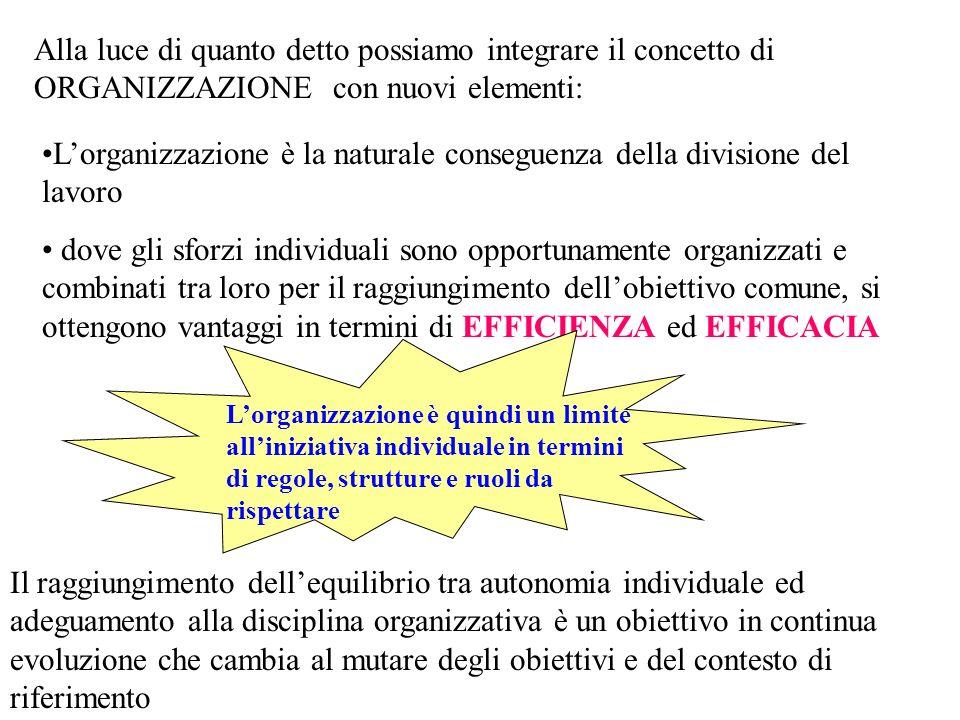 L'organizzazione è la naturale conseguenza della divisione del lavoro