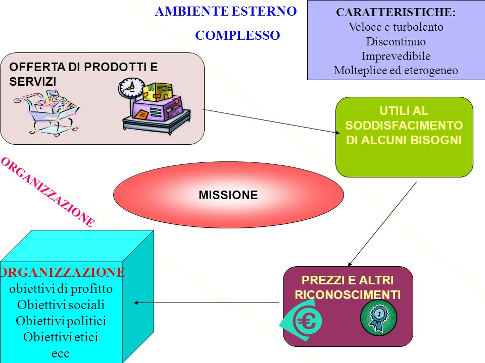 ORGANIZZAZIONE obiettivi di profitto Obiettivi sociali