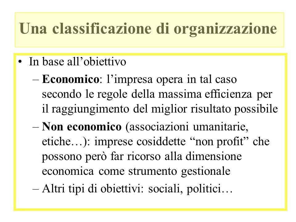 Una classificazione di organizzazione