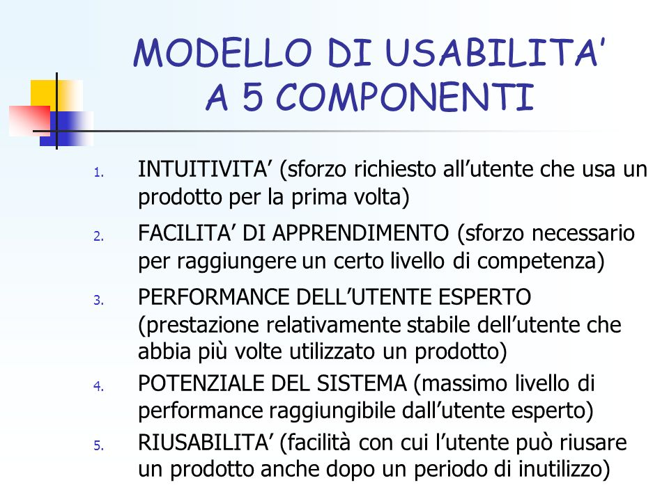MODELLO DI USABILITA' A 5 COMPONENTI