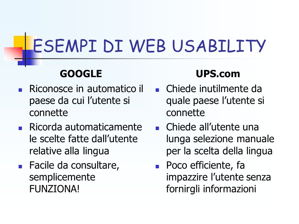 ESEMPI DI WEB USABILITY