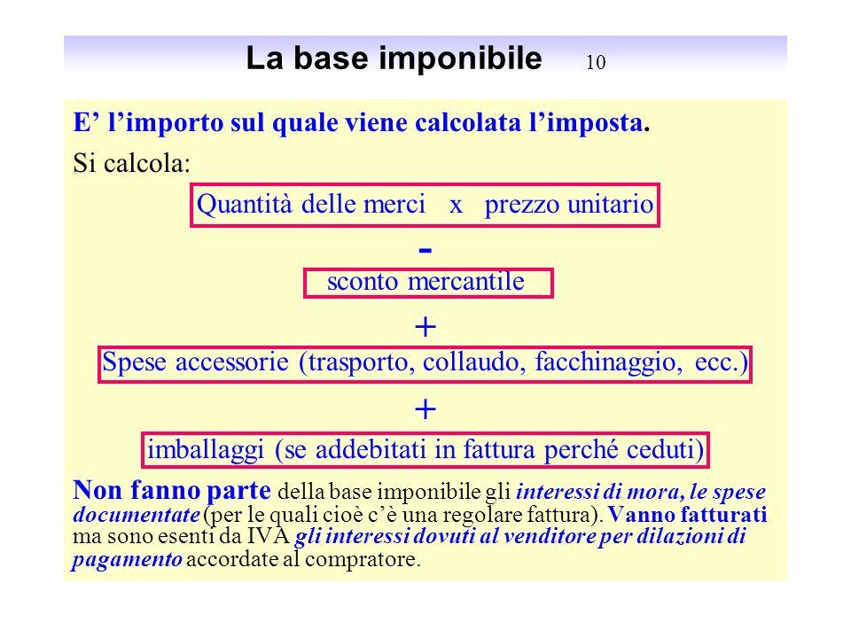 La base imponibile 10E' l'importo sul quale viene calcolata l'imposta. Si calcola: Quantità delle merci x prezzo unitario.
