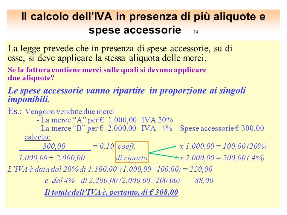 Il calcolo dell'IVA in presenza di più aliquote e spese accessorie 14